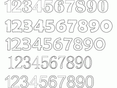12345 Number Fonts Free DXF Vectors File