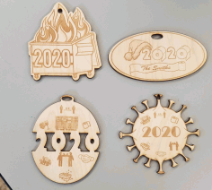 2020 Themed Christmas Ornaments Laser Cut CDR File