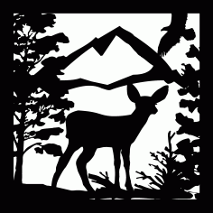 24 X 24 Deer Fawn Eagle Mountains Plasma Art DXF File DXF Vectors File
