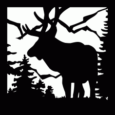 24 X 24 Elk Mountains Plasma Metal Art DXF File