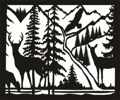 30 X 36 Doe Buck Doe Eagle River Plasma Metal Art DXF File DXF Vectors File