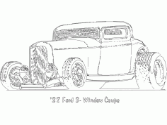 32 Ford 3 window Coupe Free DXF Vectors File