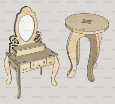 3D Puzzle Laser Cut Dressing Table With Stool Kit Art CDR Vectors File