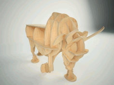 3D Wooden Bull Puzzle Laser Cut Free CDR File