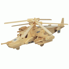 3D Wooden Helicopter Assembly Puzzle CDR File
