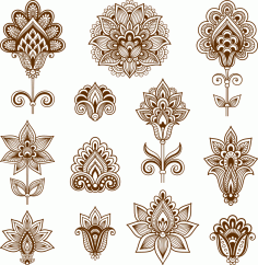 Abstract Floral Elements In Indian Mehndi Style Free CDR Vectors File