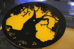 Acrylic Tree Design Wall Clock Laser Cut CDR File