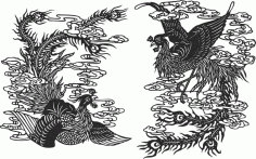 Ancient chinese phoenix free CDR Vectors File