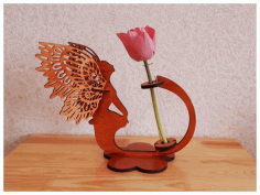 Angel Flower Stand Planter Laser Cut Free Vector CDR File