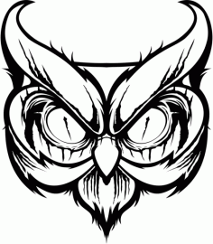 Angry Big Owl Silhouette Laser Cut CDR File