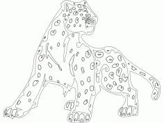 Animal Mascot Cheetah Template DXF File