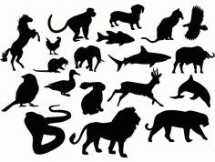 Animal Silhouettes Free DXF Vectors File