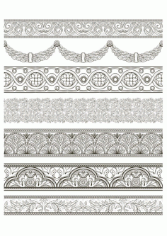 Arabesque Lace Damask Seamless Border Floral Laser Cut Free CDR File