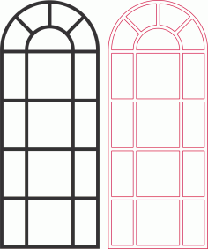 Arched Window vector Free DXF Vectors File
