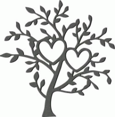 Art Tree and Two Hearts for Laser Cut Plasma DXF File