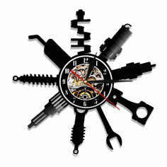 Auto Repair Shop Vinyl Record Wall Clock Laser Cut DXF File