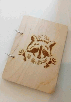 Aving Raccoon on Notebook Laser Cut Design DXF File