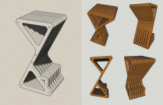 Bar Stool Laser Cut CNC Router Plans Free CDR Vectors File