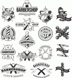 Barbershop Logo Set Free CDR Vectors File