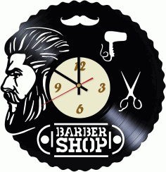 Barbershop Wall Clock Design CDR Vectors File