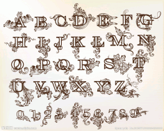 Baroque Floral Letters Free CDR Vectors File