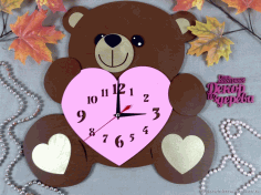 Bear Clock Laser Cut CDR File