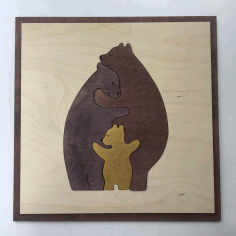 Bear Family Wall Art Laser Cut Free CDR File