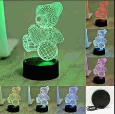Bear Illusion Lamp CNC Laser Cutting Free CDR Vectors File