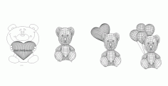 Bears 3d Led Night Light Free CDR Vectors File