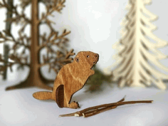 Beaver Wooden Animal Laser Cut CNC Template Free Vector CDR File