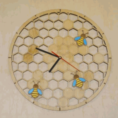 Bee Wall Clock CNC Laser Cutting Free CDR File