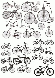 Bicycles Stickers Silhouette CDR File