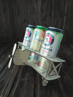 Biplane Wooden Beer Holder Laser Cut CDR File