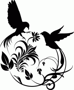 Bird Swirl Vector Art Laser Cut CDR File