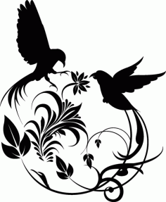 Birds Swirl Free DXF Vectors File