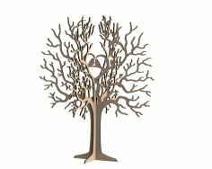 Birds Tree Jewelry Stand 3mm CNC Laser Cut Free CDR File