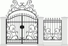 Black Forged Gate Wickets On White Vector Free Vector CDR File