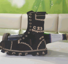 Boot Wine Bottle Holder Decorative Display Stand Laser Cut CDR File