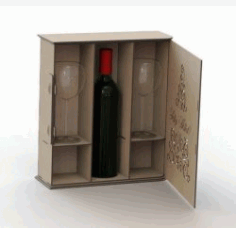 Box Caixa de vinho for Laser Cut plasma DXF File