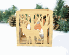 Box Lamp Deer In The Forest Laser Cut CDR File