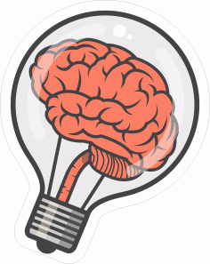 Brain Bulb Sticker CDR File