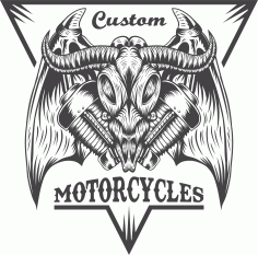 Bull Motorcycle Sticker Free CDR Vectors File