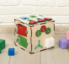Busy Cube Wooden Toy CDR File
