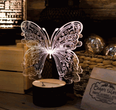 Butterfly 3D Acrylic Light Lamp Laser Cut CDR File