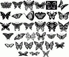 Butterfly Ornaments Decor Free DXF Vectors File