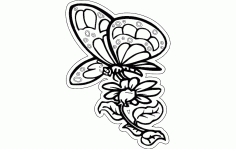 Butterfly With Flower Free DXF Vectors File