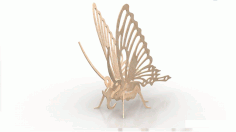 Butterfly Wood Insect 3d Puzzle 3mm Download Free Vectors DXF File