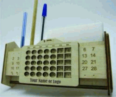 Calendar View Box and Pens for Laser Cut CNC CDR File