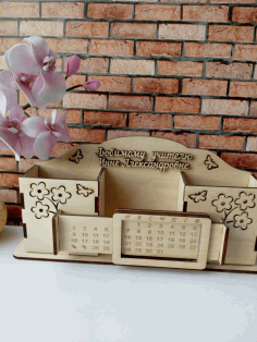 Calendar with Pencil Box Laser Cut Free CDR File