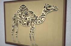 Camel 3D Multi Layer Wall Art Laser Cut Free CDR File